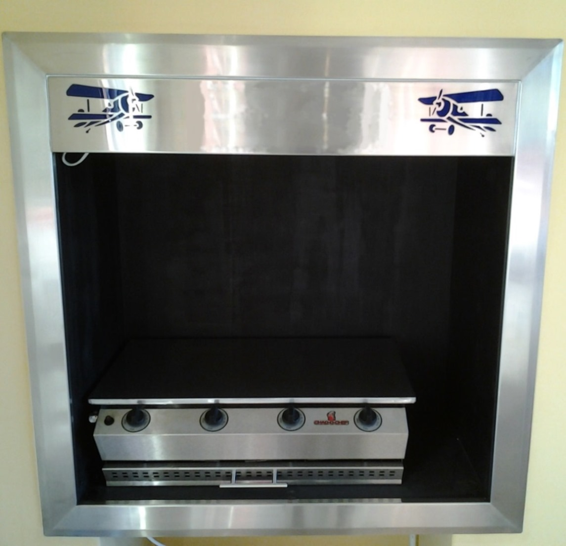 custom made stainless steel griller cabinet