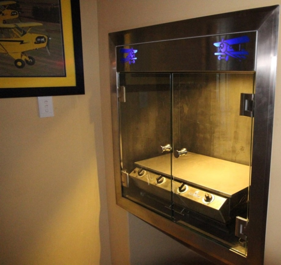 custom made stainless steel griller cabinet with backlight