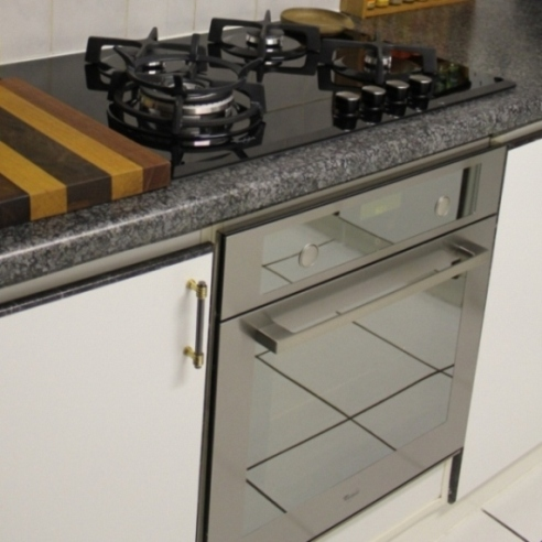 glass top gas hob and electrical oven